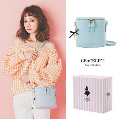 Disney collection by Grace gift-愛麗絲壓紋雙拉鍊圓筒側背包
