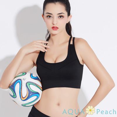 運動內衣 撞色雙肩帶美背抗震背心 (黑色)-AQUA Peach