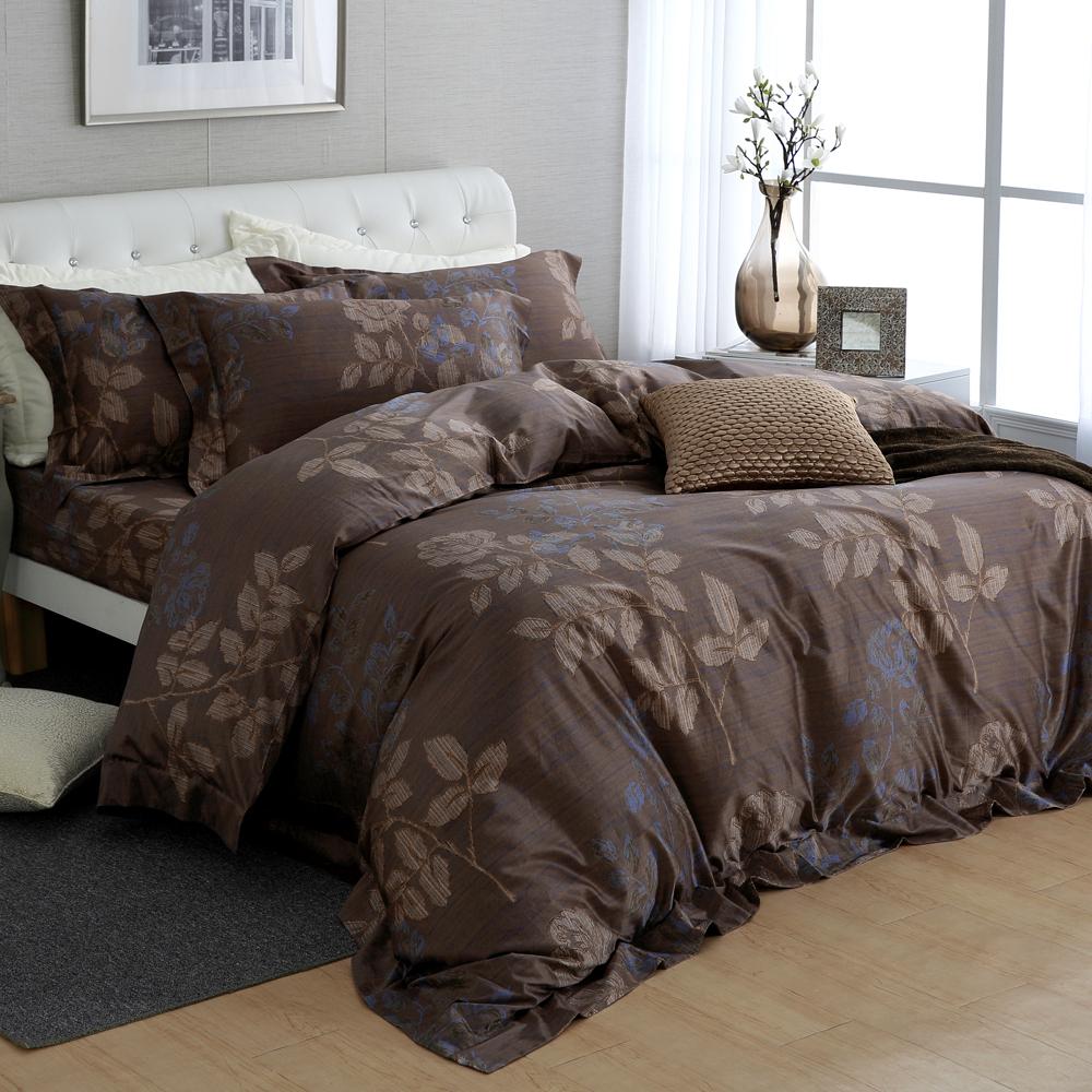 HOYA H Series特納印 特大四件式頂級500織匹馬棉被套床包組 贈冬被
