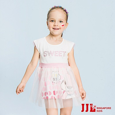 JJLKIDS 可愛兔兔拼接網紗短袖洋裝(白色)