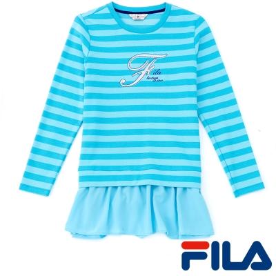 FILA女性假兩件式條紋上衣-湖水藍-5TEP-5422-TQ