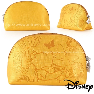 Disney貝殼造型精緻壓紋化妝包/收納包-維尼