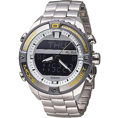 ALBA 雅柏 活力型男玩轉雙顯計時腕錶(AZ4019X1)44mm