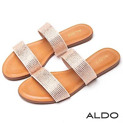 ALDO 原色寬版雙環繫帶耀眼水鑽木紋跟涼拖鞋~襯膚裸粉