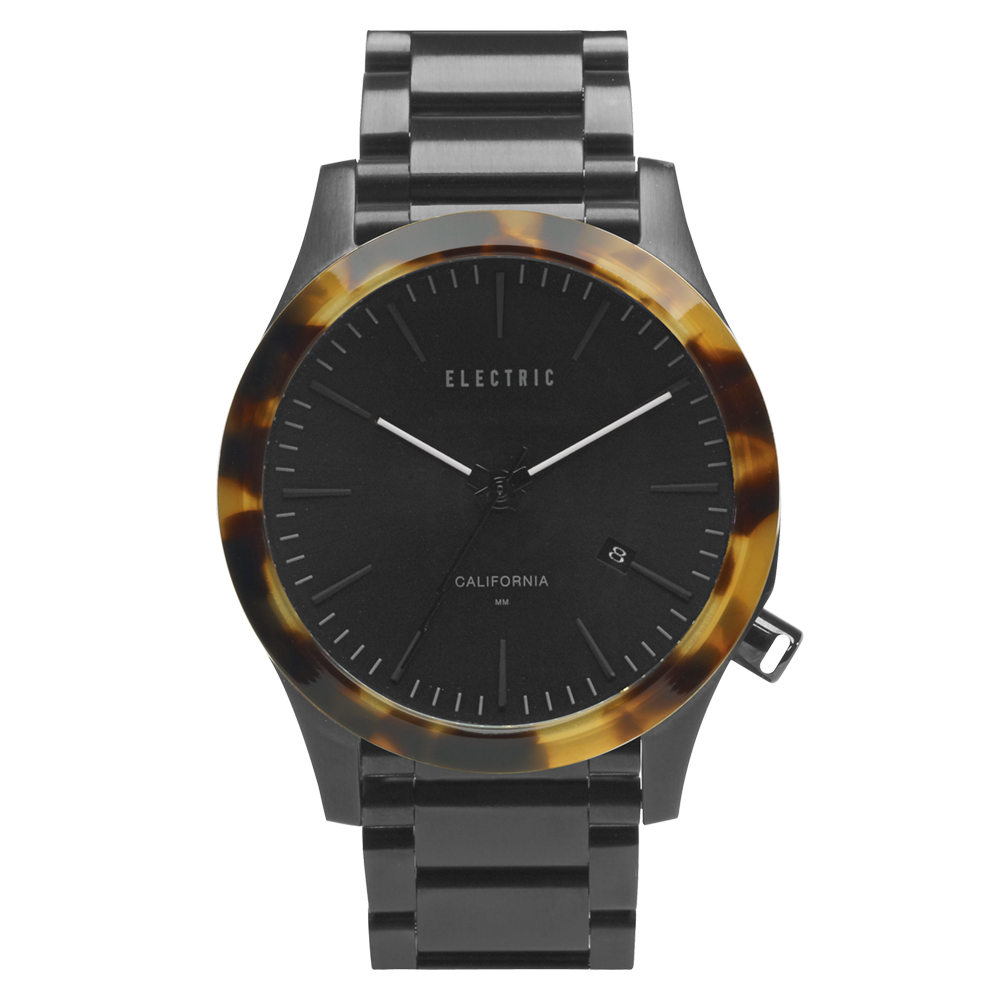 ELECTRIC FW03系列-優雅精品時尚腕錶-玳瑁x黑鋼帶/40mm
