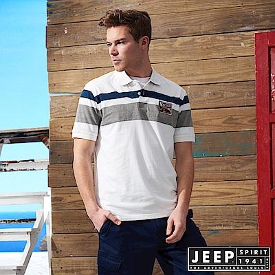 JEEP 美式冒險簡約短袖POLO衫-白色