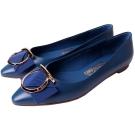 Salvatore Ferragamo EZIA 馬蹄蝴蝶結飾牛皮平底鞋(蔚海藍)
