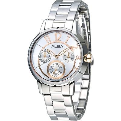 ALBA 俏麗圓點全日曆女錶(AP6025X1)-玫瑰金刻度/35mm
