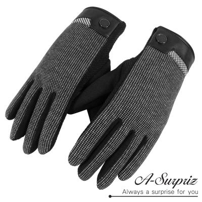 A-Surpriz-男仕細格紋防滑顆粒觸控手套-黑