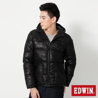 EDWIN-迷彩拼接羽絨外套-男-黑色