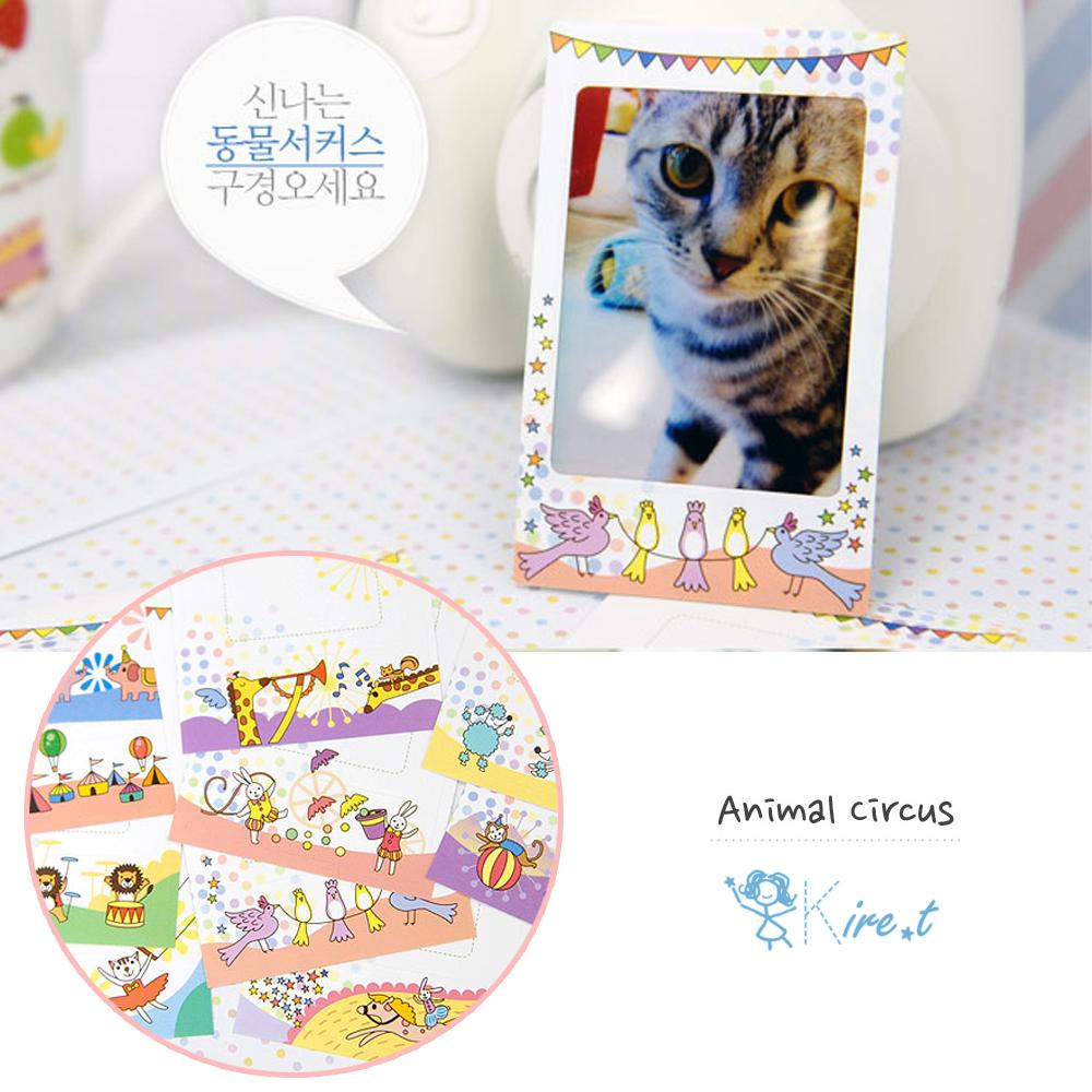 【超值20入】kiret動物馬戲團拍立得邊框相框貼紙ANIMAL