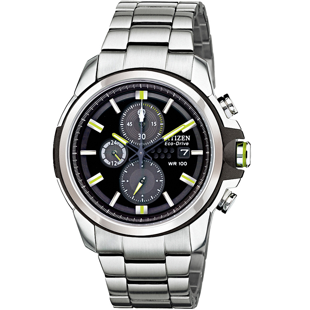 CITIZEN Eco-Drive 光動能保衛戰士計時腕錶(CA0428-56E)-黑/43mm