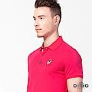 歐洲貴族oillio 短袖POLO衫 素面款式 賽馬刺繡 桃紅色