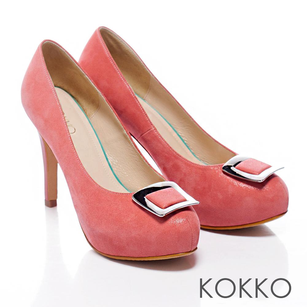 KOKKO經典手工 ‧新潮亮眼方釦羊皮高跟鞋 - 甜粉橘