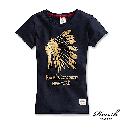 Roush 女生印地安羽毛頭盔柔棉短TEE(3色)