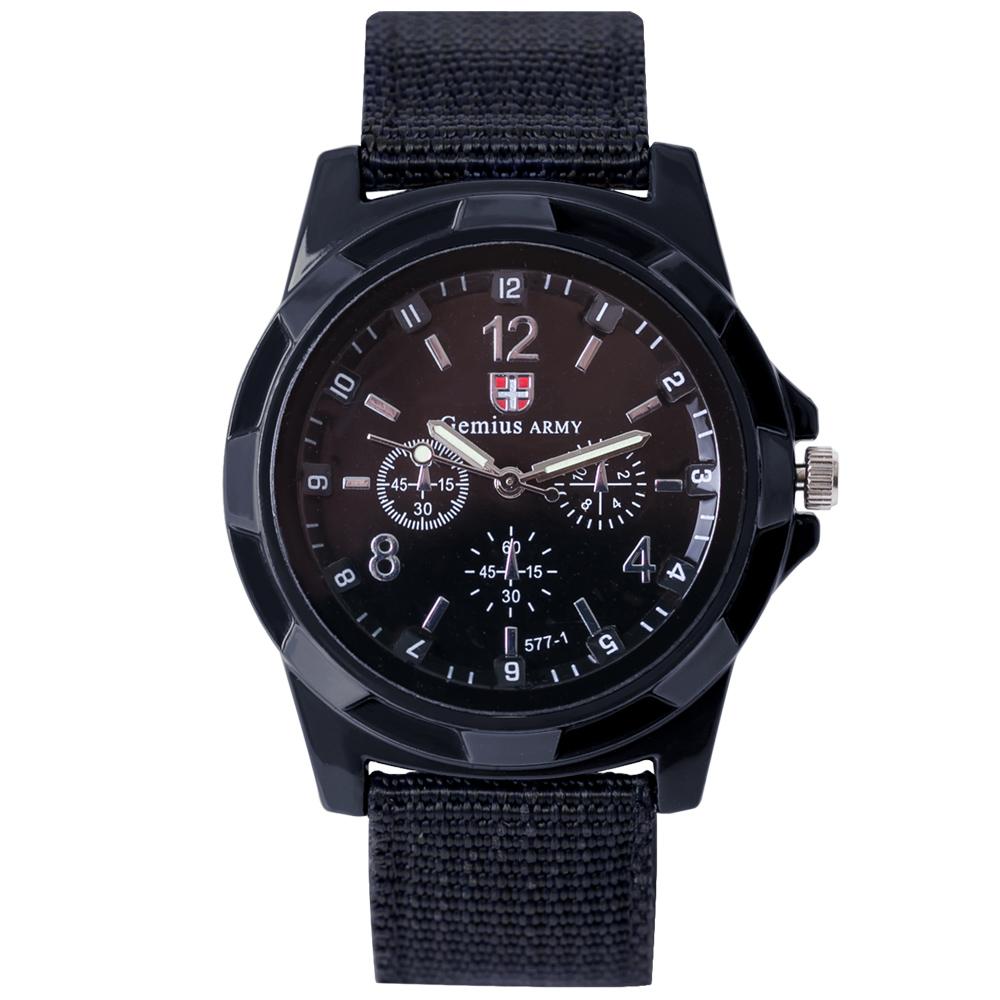 Watch-123 勇武者 瑞士軍風經典帆布帶腕錶/38mm