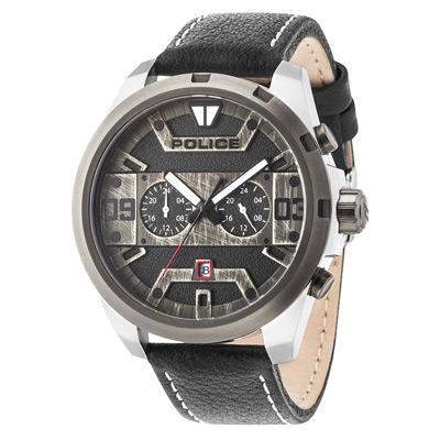 POLICE 星際元素雙時區腕錶-15365JSTU-02-50mm