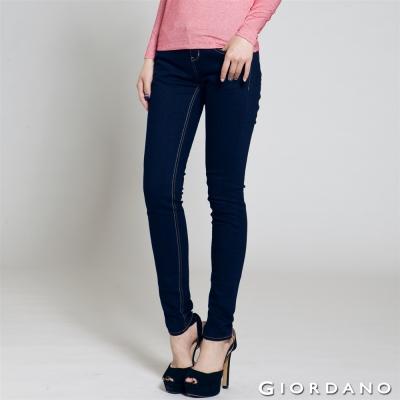 GIORDANO-女裝中低腰彈力修身窄管牛仔褲-50深藍