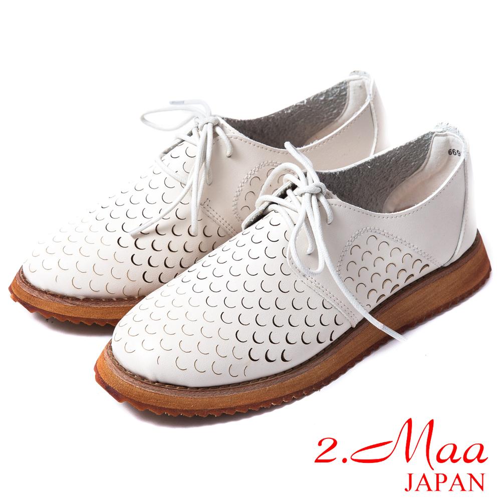 2.Maa 真皮系列-高質感牛皮綁帶洞洞造型樂福鞋-時尚米