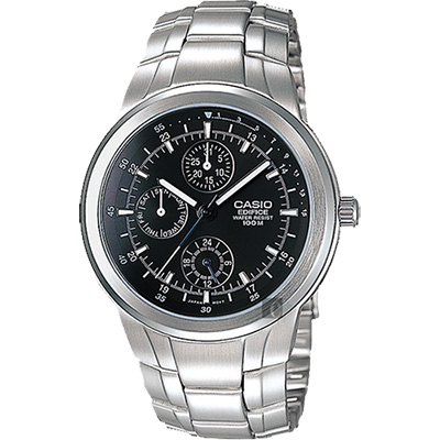 CASIO 卡西歐 EDIFICE 運動風日曆手錶-黑x銀/53.5mm @ Y!購物