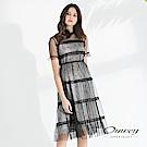 OUWEY歐薇 性感透膚碎花兩件式長版洋裝(黑)