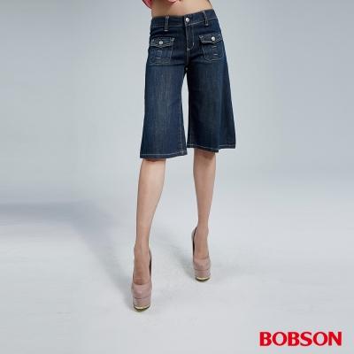 BOBSON 女款寬潮作牛仔短褲(藍155-53)