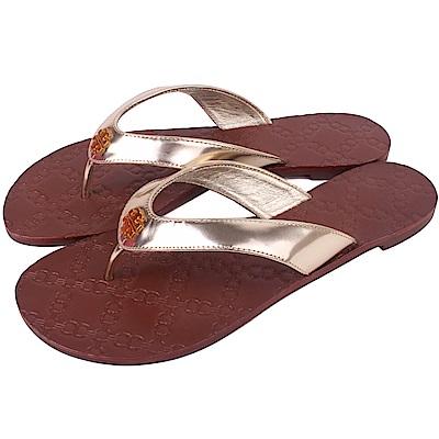 TORY BURCH 經典LOGO夾腳涼拖鞋(金色/咖啡棕)