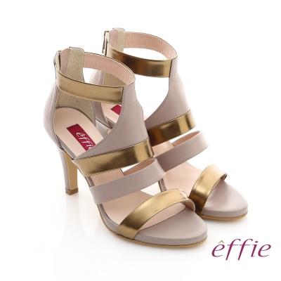 effie 修身美型系列 全真皮雙色拼接金箔露趾高跟鞋 藕粉