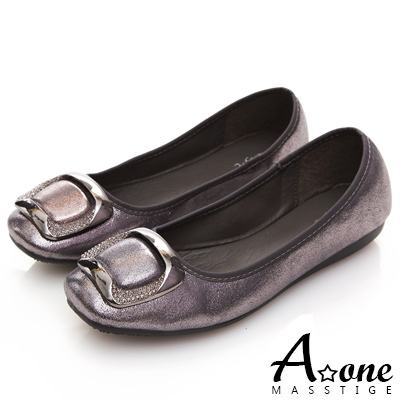 A one 方形鑽飾方頭娃娃鞋-銀灰