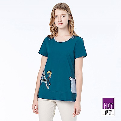 ILEY伊蕾 巴黎女孩綴飾棉質上衣(藍)