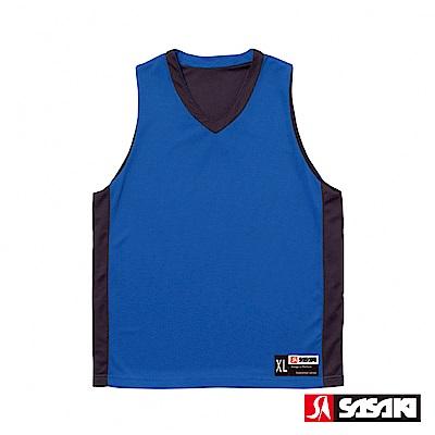 SASAKI 雙面穿長效性吸排V領籃球背心-男-亮藍/黑