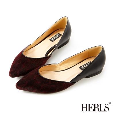 HERLS 內真皮  優雅 設計拼接平底鞋-酒紅