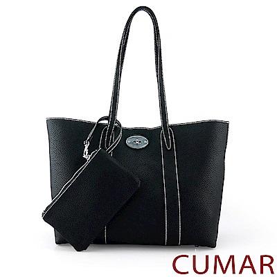 CUMAR 簡約荔枝紋軟皮托特包(附零錢包)-黑