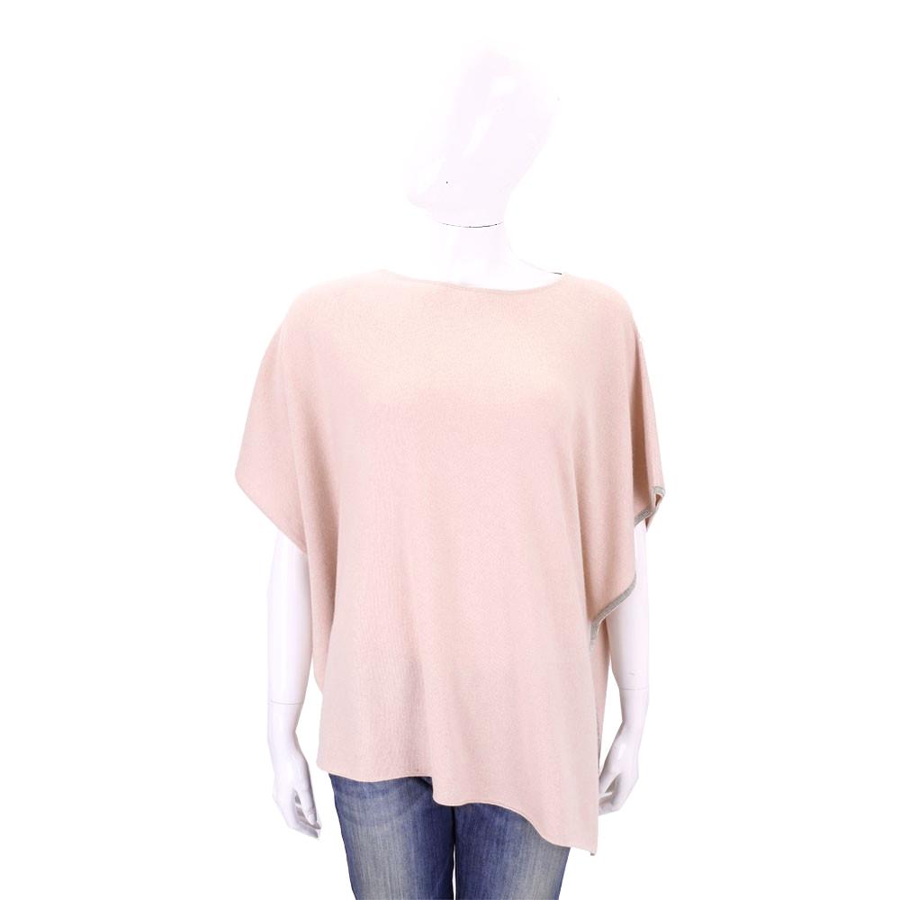 FABIANA FILIPPI 粉色不對稱剪裁滾邊設計羊毛上衣/斗篷
