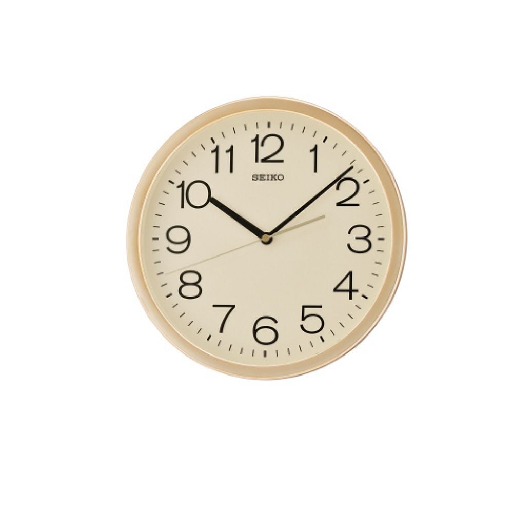 SEIKO 精工 金框 標準型 辦公室掛鐘(QXA014A)-黃/31.1cm