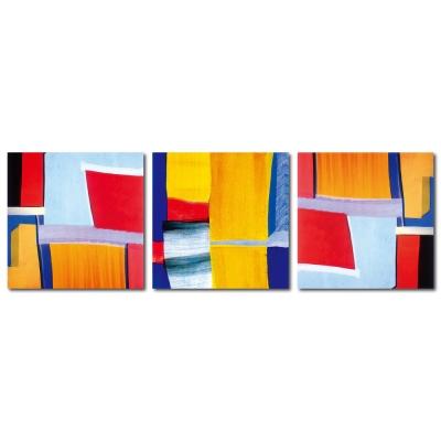 橙品油畫布 - 三聯抽象風無框藝術掛畫 - 異想 30x30cm