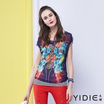 YIDIE衣蝶 鑽飾印花兩件式薄紗小背心上衣