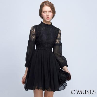 刺繡蕾絲拼接雪紡洋裝-OMUSES