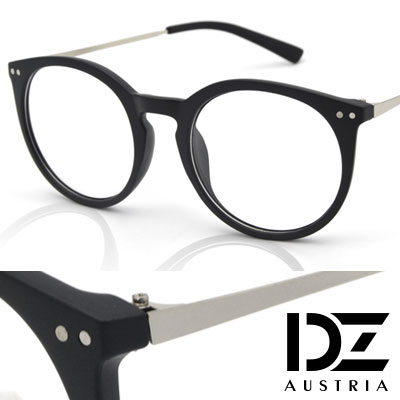 【2件59折】DZ 韓星雙釘飾 平光眼鏡(砂霧黑框)