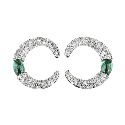 apm MONACO BONBON系列晶鑽鑲飾納米鋯石環形設計純銀耳環(綠)