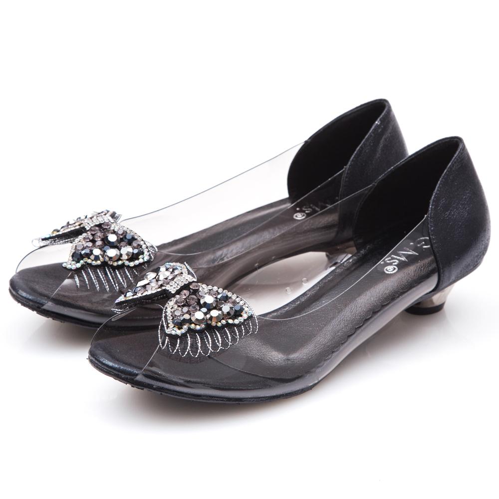 G.Ms. MIT系列-果凍透明蝴蝶結燙鑽魚口低跟鞋-黑色