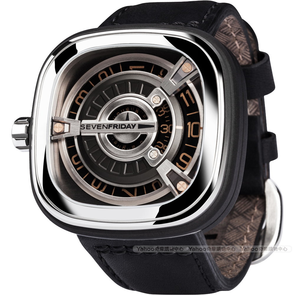 SEVENFRIDAY M1-3 設計師工藝自動上鍊機械錶-銀x黑/47mm