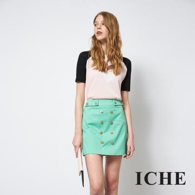 ICHE-衣哲-亮眼簡約百搭雙排釦時尚造型裙
