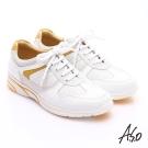 A.S.O 紓壓耐走 牛皮拼接獨立筒奈米休閒鞋 白色