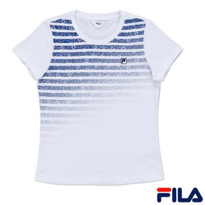 FILA基本款圓領純棉T恤5TEQ-1518-WT