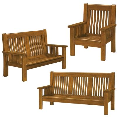 沙發 1+2+3人座沙發組合 菲夢娜樟木色實木沙發 品家居