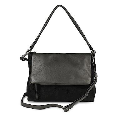 MARKBERG Zyrah 丹麥手工牛皮時尚反折肩揹包 斜背包/側揹包(個性絨黑)