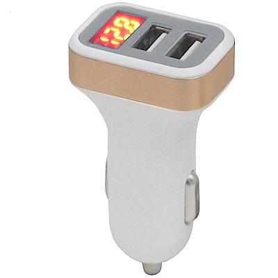 月陽數字顯示雙USB點煙器大電流充電器擴充座(HHT03)