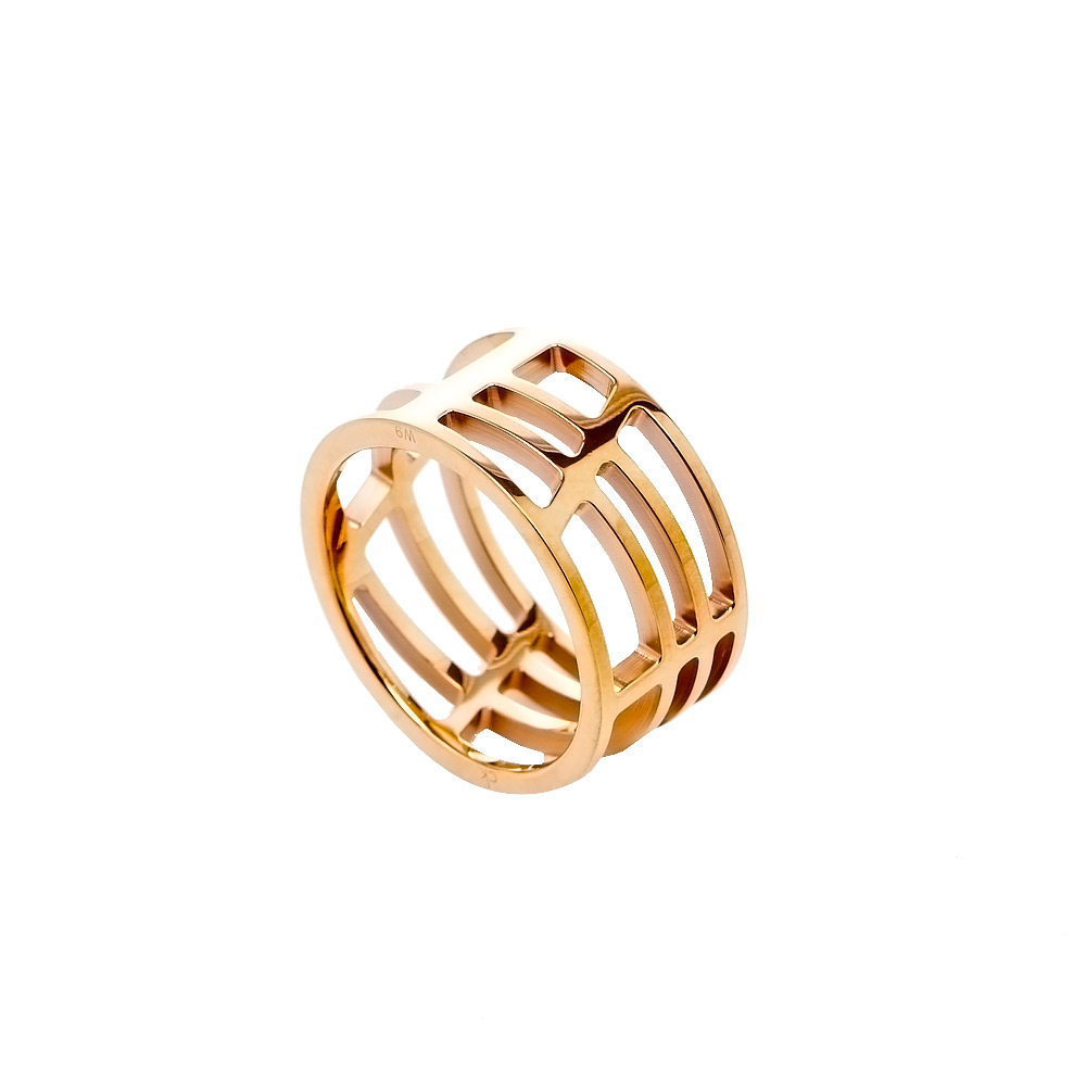 CK Calvin Klein DRAW優雅玫瑰金縷空戒指