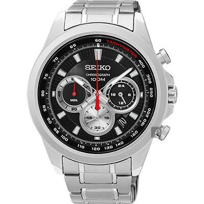 SEIKO精工 CS 破風競速計時腕錶(SSB241P1)-黑/45mm